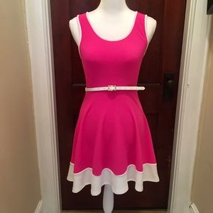 Blue S Hot Pink Belted Flair Dress